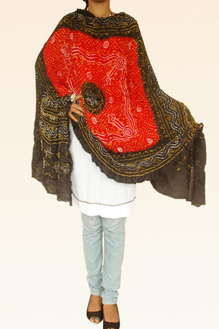 Red Black Silk Bandhani Dupatta
