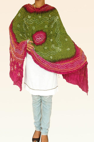 Green Purple Silk Bandhani Dupatta