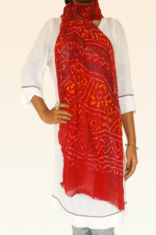 Red Purple Cotton Bandhani Dupatta