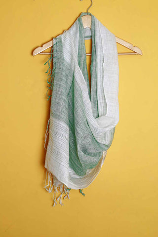 Off white green stripes linen stole