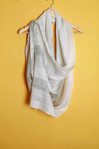 Off-white broad green stripes linen stole