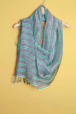 Blue green white stripes linen stole