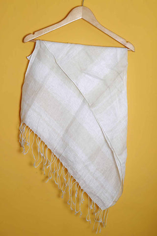 Off-white brown linen stole