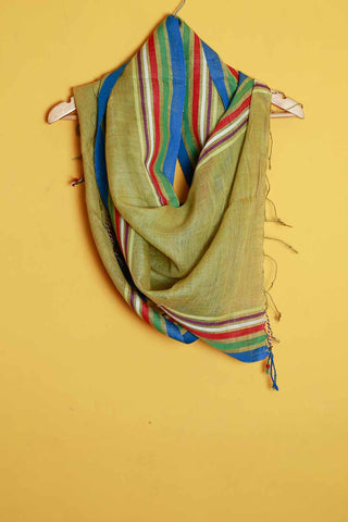 Green multi color border linen stole
