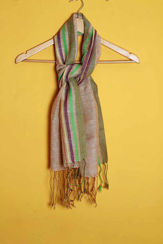 Brown multi color border linen stole