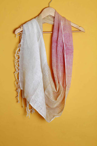 Off white yellow pink linen stole