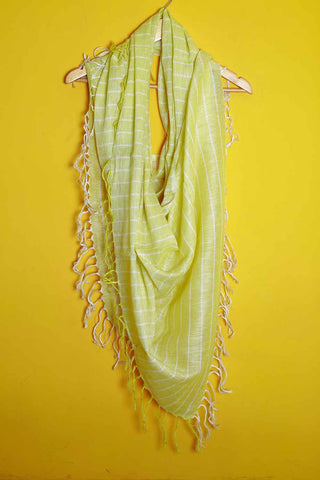 Lemon yellow white stripes linen stole