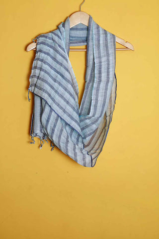 Dark blue light blue stripes linen stole