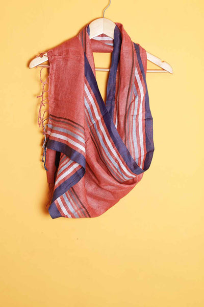 Copper red linen stole