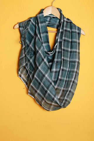 Greyish blue black white checks linen stole