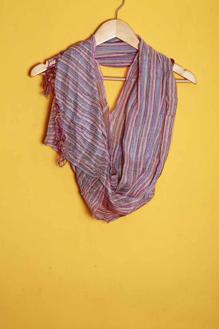 Pink with multi color stripes linen stole