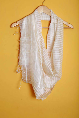Off white with stripes pure silk stole