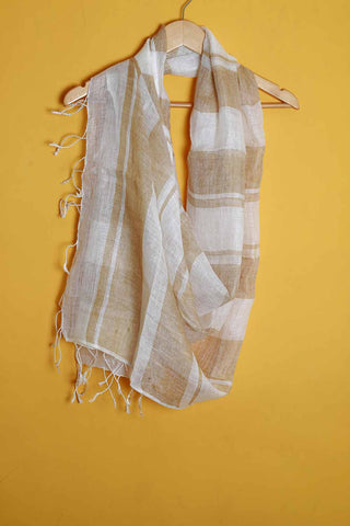 Off white broad brown stripes linen stole