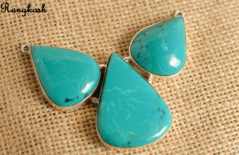 Turquoise 3 stone Pendant – 925 Sterling Silver