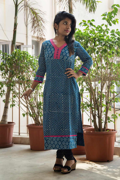 Indigo White Handblock Printed Cotton Kurta