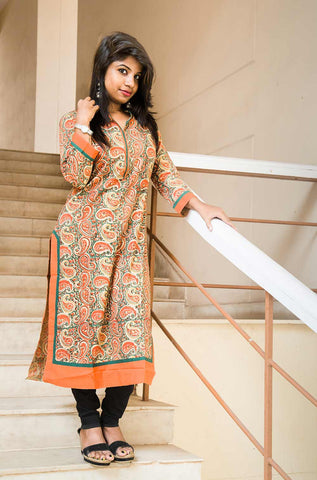 Orange Paisley Handblock Printed Cotton Kurta