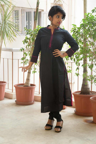 Black Pink Long Cotton Kurta