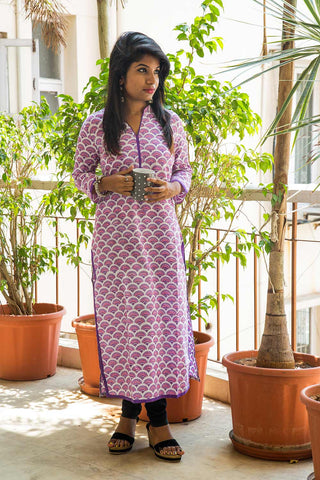 Purple White Handblock Printed Cotton Kurta