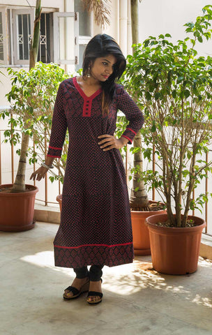 Red Black Dabu Handblock Printed Cotton Kurta