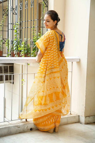 Yellow Kota Cotton Bagru Block-printed Saree