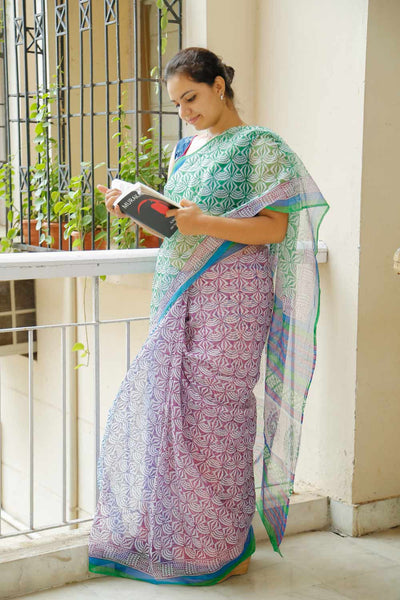 Green Mauve Kota Cotton Bagru Block-printed Saree