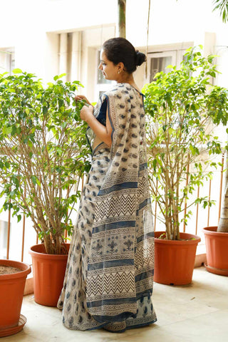 White Blue Paisley Kota Cotton Bagru Block-printed Saree