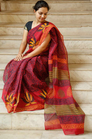 Red Blue Kota Cotton Bagru Block-printed Saree