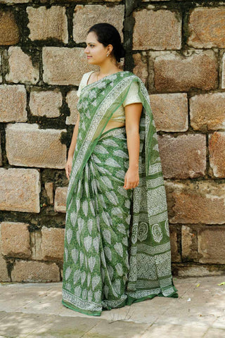 Green Kota Cotton Bagru Block-printed Saree