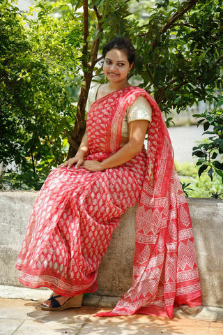 Blush Red Kota Cotton Bagru Block-printed Saree