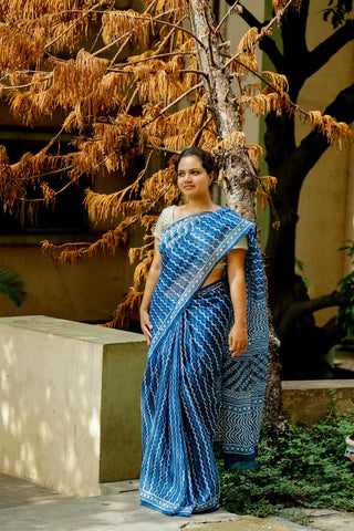 Indigo White Kota Cotton Bagru Block-printed Saree