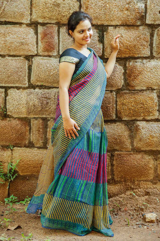 Multi-colored Stripes Kota Cotton Bagru Block-printed Saree