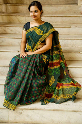 Green Yellow Kota Cotton Bagru Block-printed Saree