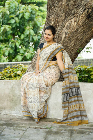 Beige Black Warli Kota Cotton Block-printed Saree
