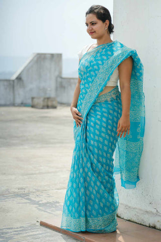 Turquoise White Kota Cotton Bagru Block-printed Saree
