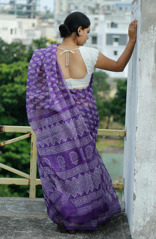 Purple White Kota Cotton Bagru Block-printed Saree