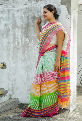 Green Pink Striped Kota Cotton Bagru Block-printed Saree