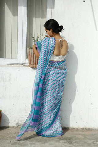 Green White Lilac Kota Cotton Bagru Block-printed Saree