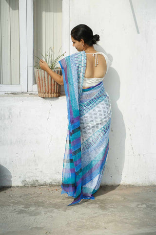 White Blue Kota Cotton Bagru Block-printed Saree