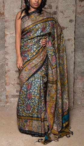 Handpainted Kalamkari Silk Saree with Krishna Gopika motifs