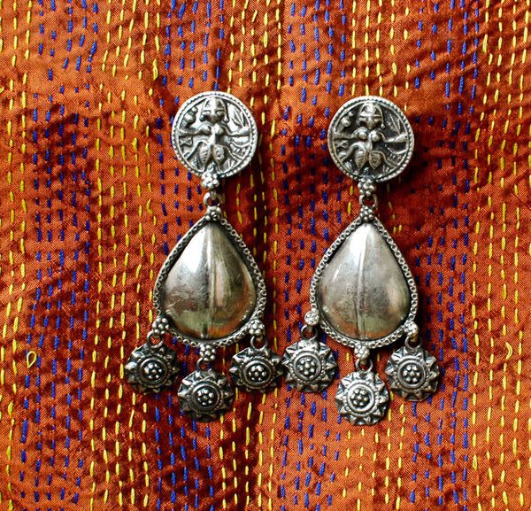 Tribal Drop Earrings 925 Sterling Silver