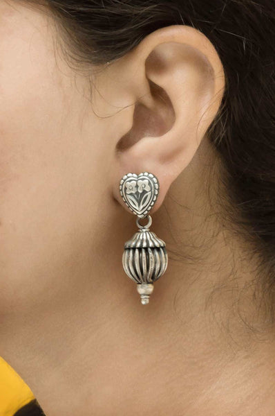 Silver Carved Ball Earrings