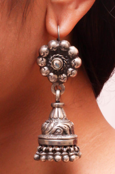 Kriti Antique Jhumkas - 925 Sterling Silver