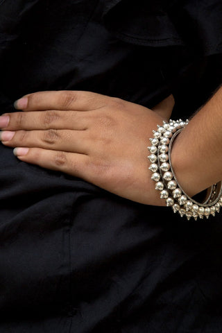 Silver Ethnic Ball Bangle 2-6