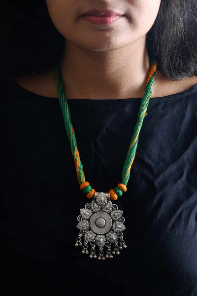 Green Yellow Silver Sun Pendant Thread Necklace