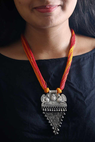 Yellow Red Silver Peacock Thread Necklace