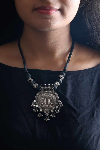 Black Silver Lakshmi Feet Thread Necklace