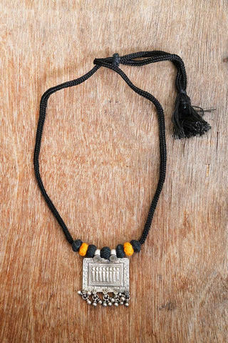 Black Yellow Silver Square Pendant Necklace