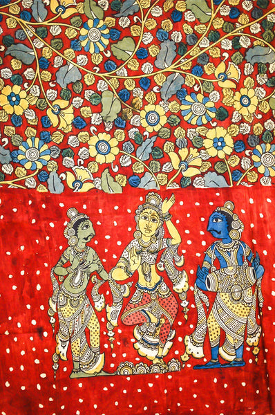 Maroon Blue Dancer and Musicians Kalamkari Dupatta