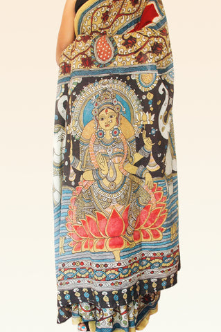 Maroon Kalamkari Cotton Saree - Goddess Laxmi