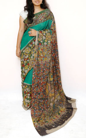 Green Kalamkari Cotton Saree - Wide Border - Krishna Radha Rasleela